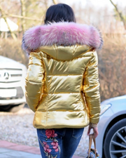 Roiii New Gold Down Coat Pink Fur Jacket