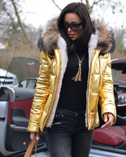 Roiii Gold Color Thicken Short Down Coat