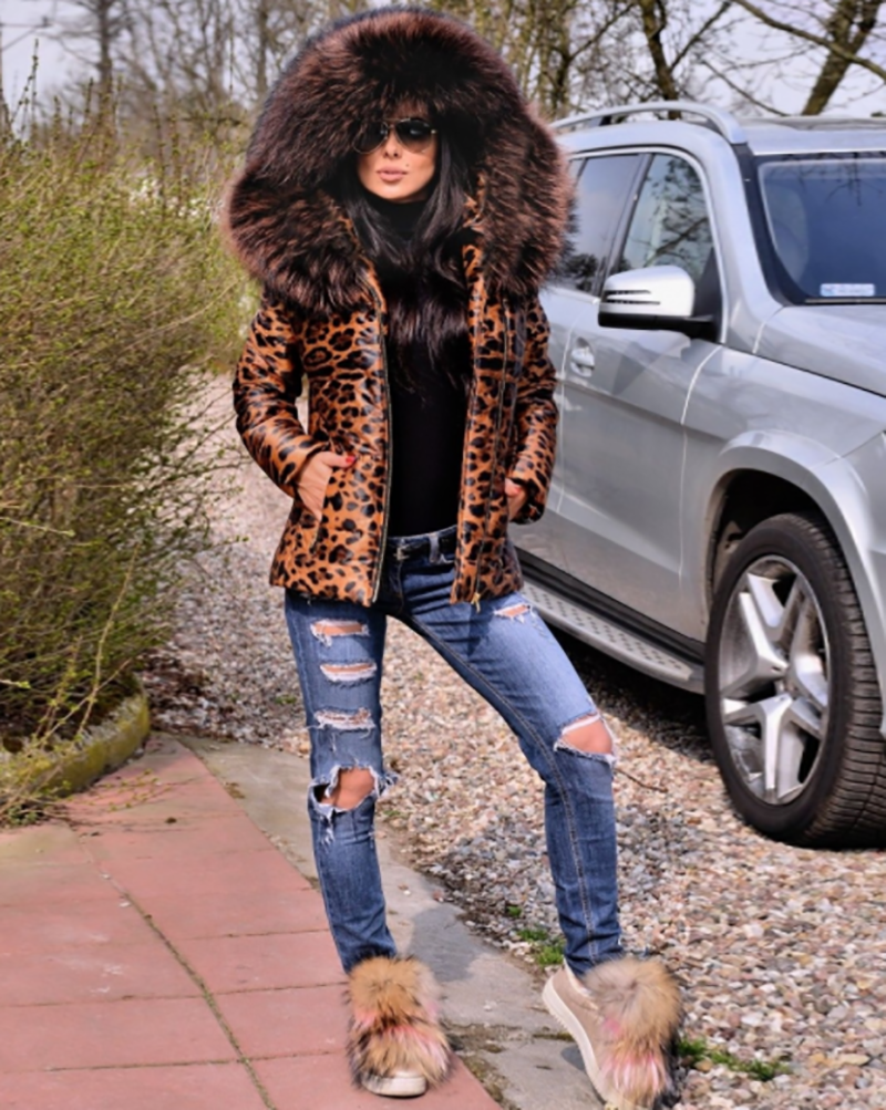 Leopard print Down Jacket Coat