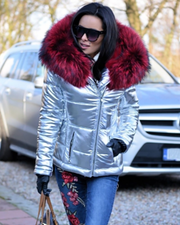 Roiii New Sliver Coat Red Fur Jacket Down Packa