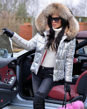 Roiii Sliver Down Coat Brown Fur Thicken warmful Jacket