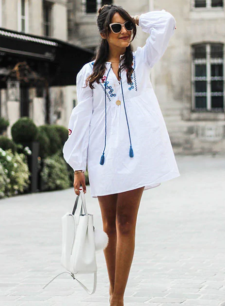 Roiii summer hot sell embroidery leisure white long sleeve short dresses