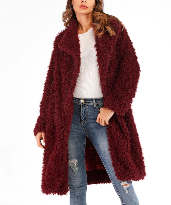 Roiii  leisure teddy velvet long sweater cardigan wine red color coat