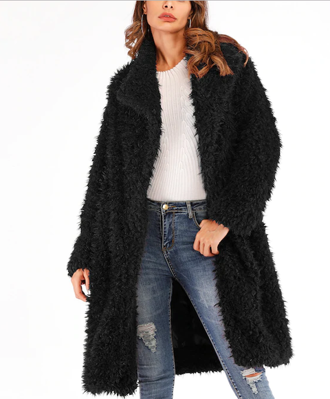 Roiii leisure teddy velvet long sweater cardigan black color coat