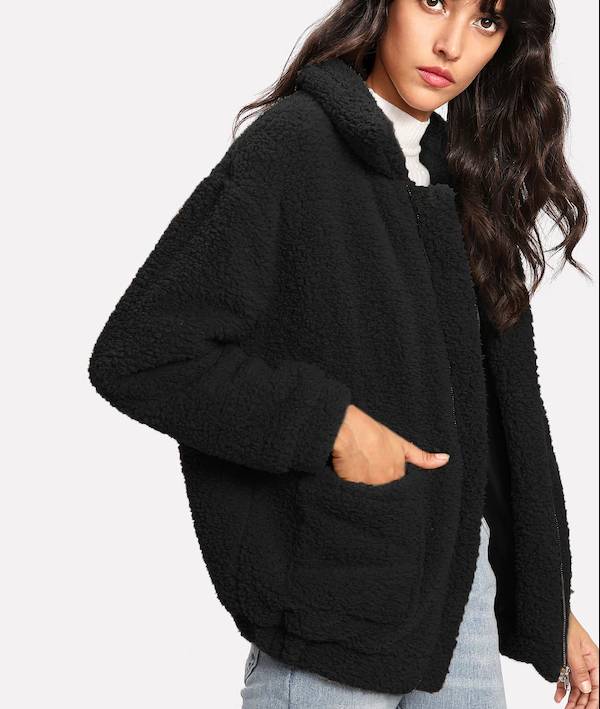 ROIII Winter fashion short Teddy velvet sweater padded warm cardigan coat black color