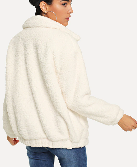 ROIII Winter fashion short Teddy velvet sweater padded warm cardigan coat white color