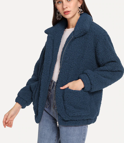 ROIII Winter fashion short Teddy velvet sweater padded warm cardigan coat blue color