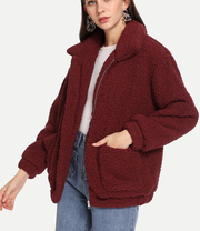 ROIII Winter fashion short Teddy velvet sweater padded warm cardigan coat wine red color