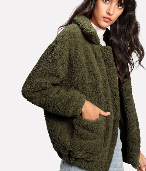 ROIII Winter fashion short Teddy velvet sweater padded warm cardigan coat army color