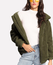 ROIII Winter fashion short Teddy velvet sweater padded warm cardigan coat army green color