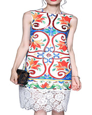 ROIII Summer Bohemia Sleeveless Lace Frill Floral Dress
