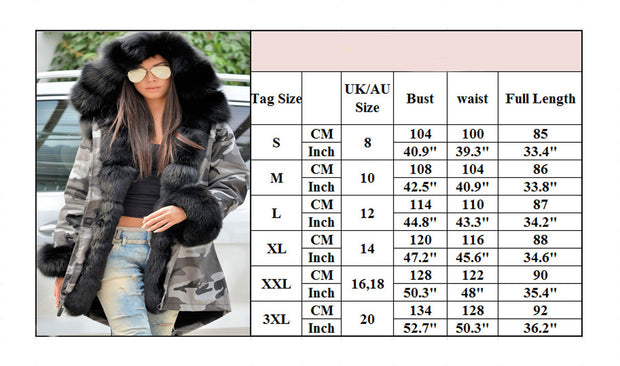 Roiii Thickened Faux Fur Camouflage Casual  Parka Women Hooded Long Winter Jacket Overcoat US Plus Size S M L XL XXL 3XL