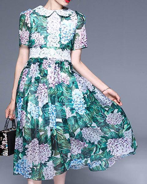 Roiii Summer fashion chiffon lace printing intellectual comfortable dresses