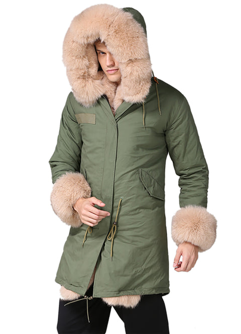 New Beige Fur Man Long Hooded Coat