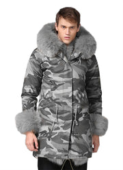 Man Grey Fur Camouflage Jacket New Arrival