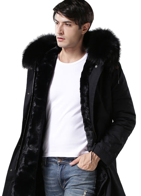 New Black Fur Man Jacket