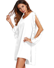 ROIII Women's White Chiffon V-neck Chic Classic Mini Dress