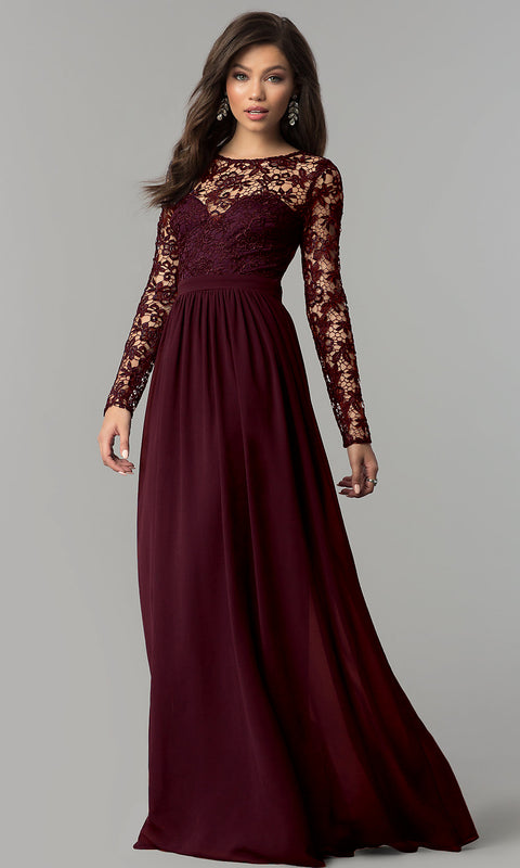 Lace Chiffon Long Sleeve Dress