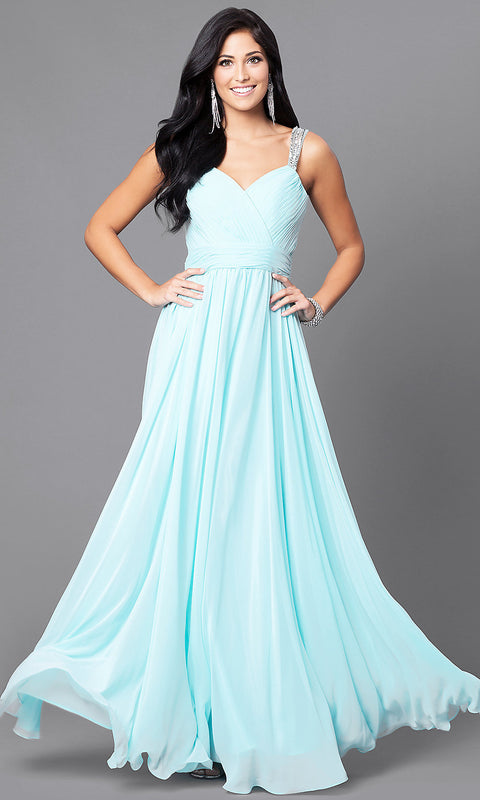 ROIII V-neck Sling Backless Floor-length Aqua Blue Evening Party Prom Dress