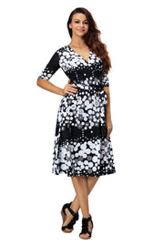 Women Casual 3/4 Sleeve V Neck Midi Wrap Dress Summer Plus Size Beach Party Skirt