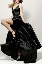 Roiii  deep V backless beautiful suspender party dresses long dresses BLACK