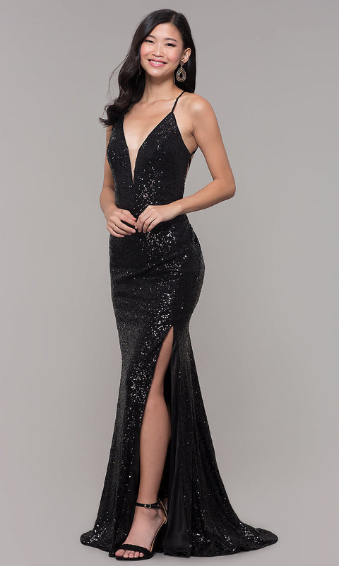 Roiii backless strap sling twinkle fishtail floor-length long dress party dresses black color