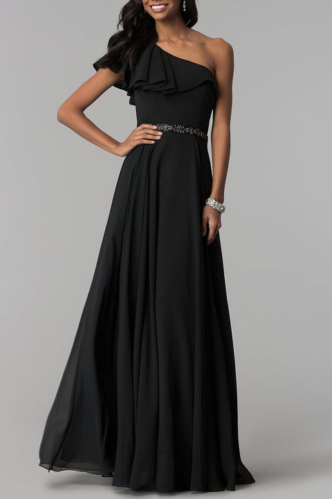 Roiii newest dresses single-necked slim evening party long dresses black