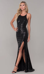 Roiii backless blinding twinkle floor-length long party dresses black color