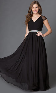 ROIII V-neck Chiffon Slim Black Cocktail Evening Party Prom Dress