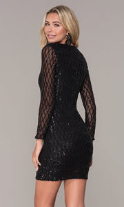 ROIII Ladies Lace Grid V-neck  Long-sleeve Short Formal Dress