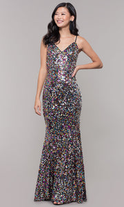 ROIII Ladies V-neck Sequins Gold Sparkly Party Prom Long Dress