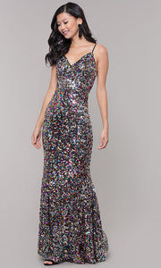 ROIII Ladies Multi Color V-neck Sling Sequins Sparkly Party Prom Long Dress