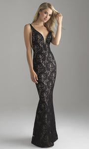 Roiii lace sexy deep v-neck floor-length long fishtail long dresses royal black color dresses