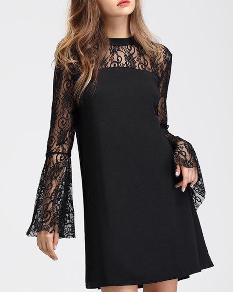ROIII Lace Chiffon Beading Flare Sleeve Elegant  Black Mini Dress