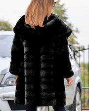 Women Black Faux Fur Sweet Design Winter Coat