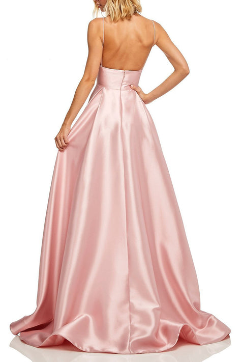 Roiii backless shoulder-straps floor-length long dresses party dresses light coffee color