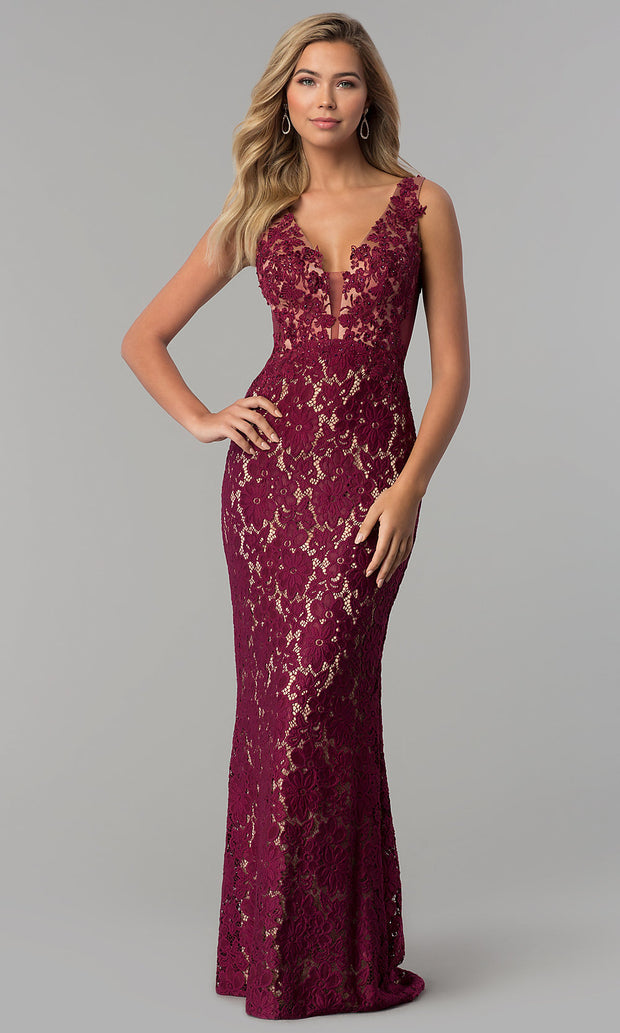 Roiii lace deep v-neck backless floor-length long fishtail long royal red color party dresses