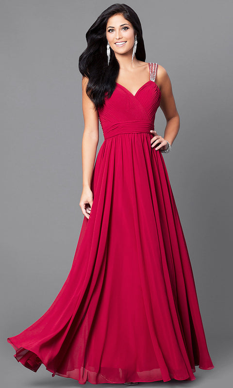 ROIII V-neck Sling Backless Floor-length Red Evening Party Prom Dress