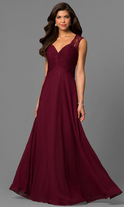 ROIII Lace shoulder strap slim Wine red Cocktail Evening Party Prom Dress