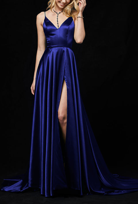 Roiii deep V backless beautiful suspender party dresses long dresses BLUE