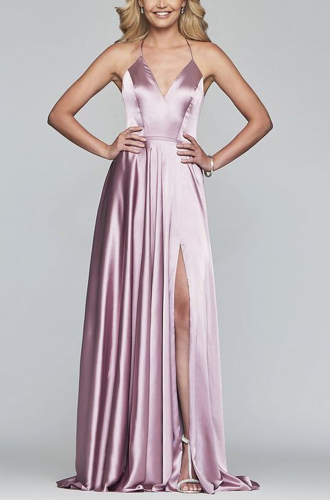 Roiii Sexy Women Beautiful  Dress  Floor-Length Long Dress Open back V-neck Party Dresses PINK