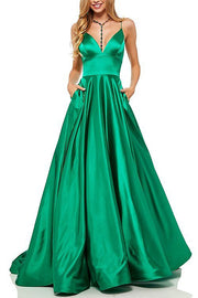 Roiii deep V backless suspender long dresses party dresses GREEN