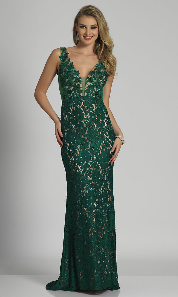 Roiii lace deep v-neck backless floor-length long fishtail long royal green color party dresses