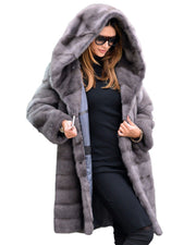 Women Grey Faux Fur Sweet Design Winter Coat