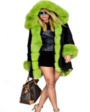 Roiii Women Green Faux Fur Camouflage Jacket Coat
