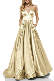 Roiii deep V backless suspender long dresses party dresses GOLD