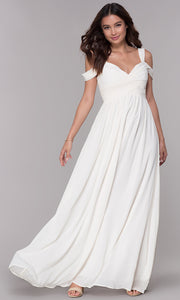 ROIII V-neck Sling strapless floor-length White Cocktail Evening Party Prom Dress