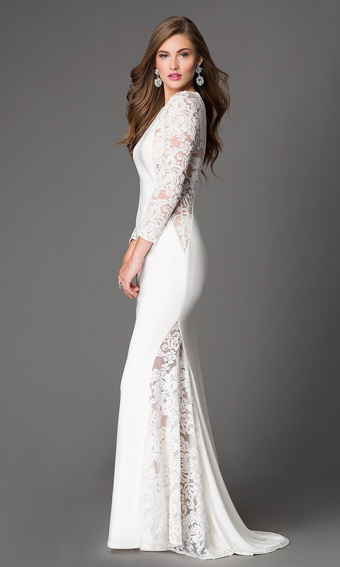 Women White lace long sleeve slim floor-length royal long party dresses