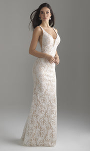 Roiii lace deep v-neck floor-length long fishtail long dresses royal white color dresses