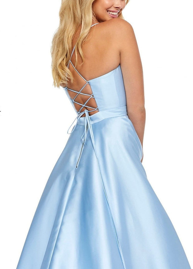 Roiii Deep V-neck Backless Sky Blue Floor-length Party Dress